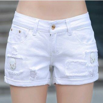 Quần shorts nữ thiết kế đầu lâu 120 (Trắng)