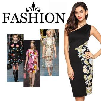 Sunweb ANGVNS Ladies Sexy Single Shoulder Splicing Print Slim Bodycon Knee Length Pencil Dress ( Black ) - intl
