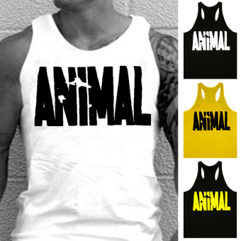 Moonar Men's Fashion Animal Letters Pattern Fitness Tank Top H-back Vest M-XXL (White) - intl