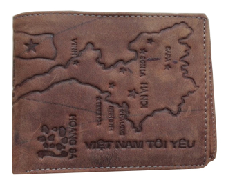 Ví da thời trang nam dập nổi bản đồ Việt Nam (Màu Da bò)