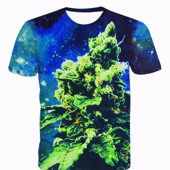 Fancyqube Fashionable Designer Casual Galaxy Mustache Space Graphic Print Loose T shirts Green - intl