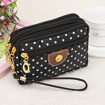 Moonar Fashion 4 Zippers Women Wallet Polka Dot Coin Purse Money Keys Clutch Cards Holder Handbag (Black) (Intl) - intl