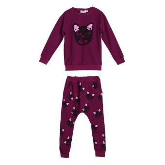 2PCS Toddler Kids Baby Girls Autumn Outfits Clothes Cat T-shirt + Pants Set(Purple) - intl
