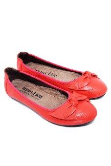 Giày búp bê nữ da bò Minh Tâm MT750GN (Cam)