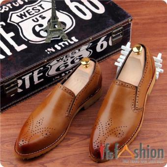 Giày Lười Nam Hàn Quốc Màu Nâu Bò Có Hoạ Tiết Mũi Giày Mã Sản Phẩm HQ106