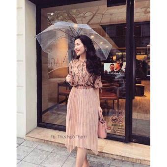 Đầm xòe họa tiết phối váy lưới (hồng)