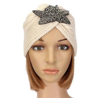 Women Winter Wool Warm Floral Cap Beret Crochet Baggy Beanies - Intl