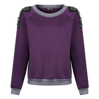 Sunweb Finejo Ladies Casual Hoodie Long Sleeve Beads Deco Loose Pullover Top Sweatshirt ( Purple ) - intl