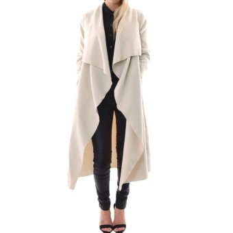 Fashion Women Outerwear Drape Waterfall Open Front Long Length Cardigan Coat - intl