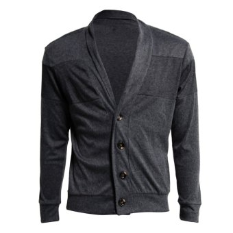 Men Cardigan Long Sleeve Slim Lapel Button Sweater Coat Dark Grey - intl