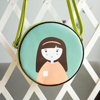 Women Fashion Mini Circular Shoulder Bag Leather Messenger Body Bag Handbag - intl