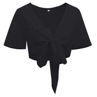 Summer Crop Top 2017 Sexy Deep V Neck Tie a Knot Bralette Short T Shirt Women Tank Top Short Sleeve Tops - intl