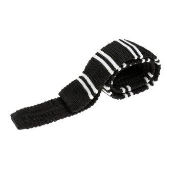 BolehDeals Men's Wool Knitted Flat Woven Tie Necktie (Black) - intl