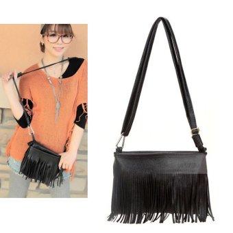 Woman Fringe Tassel Shoulder Messenger Bag Hand Style (Black) - intl