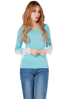 LALANG Autumn Bud Silk Cotton T-Shirt (Light Blue) - Intl
