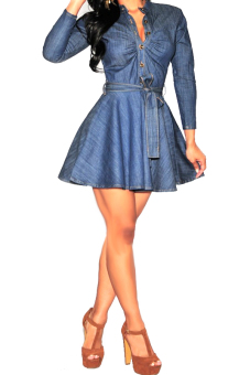 Vococal Fashionable Women's Long Sleeve Denim Belted Shirt Dress M