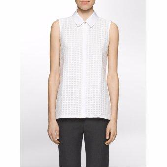 Áo công sở nữ Calvin Klein SLEEVELESS WINDOWPANE GRID TOP - Hàng nhập khẩu