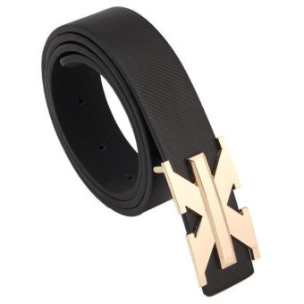Simple Types Fashion Pin Buckle Mens' Womens' Wide Belt Black (Intl)