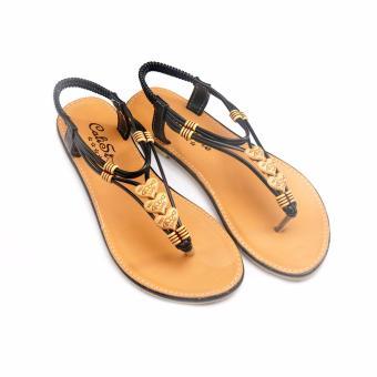 Giày xăng đan quai họa tiết GD39 (Nâu Đen)