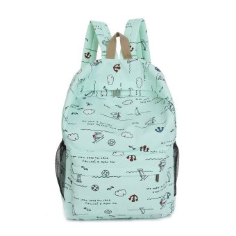 Fashion Cartoon Printing Women Canvas Backpack Schoolbag (Green) - Intl