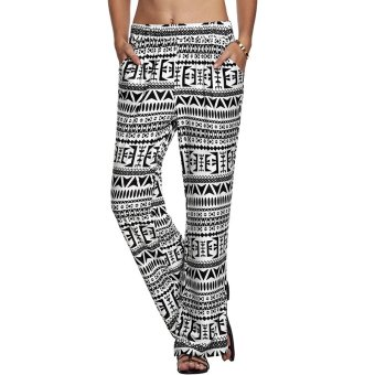 Cyber Meaneor Women Straight Pants Elastic Waist Casual Loose Print Long Pockets Trousers ( White ) - Intl