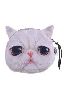 HKS Children Cute Cat Face Zipper Case Coin Money Kids Purse Wallet Makeup Bag Pouch Cat - intl