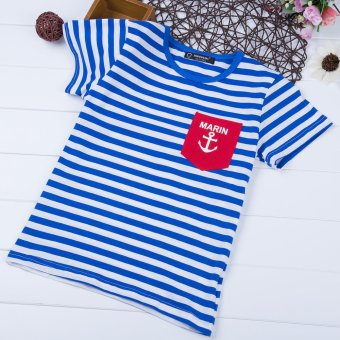 Leisure Boys T-shirt Stripes Printed Cotton Round Neck (Blue) - intl