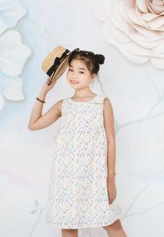 Đầm Họa Tiết Nơ Trên Vai Genii Kids (Trắng)
