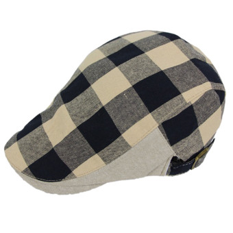 Unisex Polyester Cotton Plaid Flat Peak Beret Cap Hat Style B (Intl)