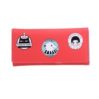 Fashion Women PU Leather Long Wallet Floral Cute Bear Card Holder Clutch - intl