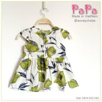 Đầm Thô Hoa Xanh Khuy Lưng Papa Fashion