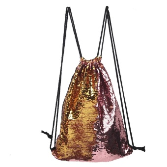Fashion Outdoor Roses Sports Casual Double Color Sequins Unisex Chest Bag - intl