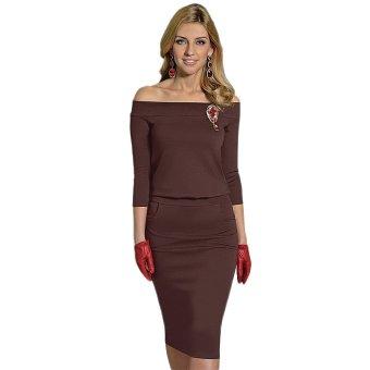 Autumn Winter Women Casual Dress Off-the-Shoulder Bodycon Brown - Intl