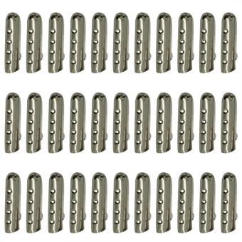 100 PCS Metal Replacement Shoelace Shoe Lace Aglet Tip Head Aglets End Silver - intl