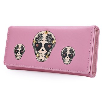 Skull Heart Plant Rivet Long Clutch Wallet(Pink) - intl