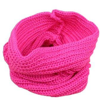 Bluelans Children Muffler Baby Woolen Yarn Knitted Scarf Boy Girl Wrap Pink (Intl)