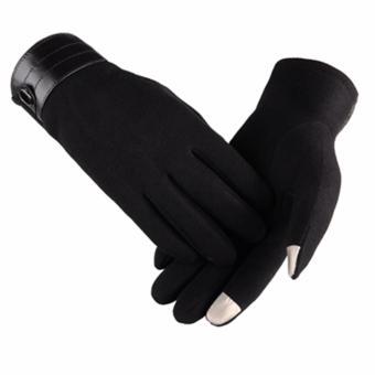 Găng tay len nam cảm ứng thời trang (Đen)