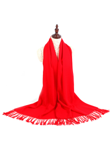 Women Ladies Warm Soft Tassel Fringe Scarf Hijab Wrap Red Scarf Shawl
