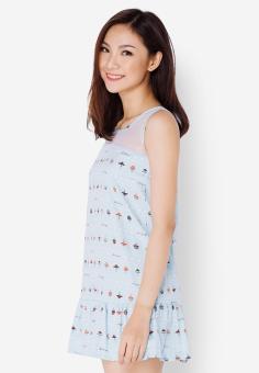 Đầm hạ eo xanh bạc hà in họa tiết nấm Cirino