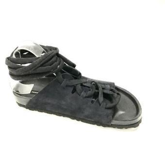 Giày cột dây thời trang nữ cao cấp bằng da (Xanh đen) Size 38