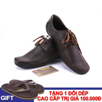 Giày lười nam da thật Da Giày Việt Nam VNL3AZ79N-1 + Tặng 1 đôi dép