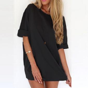 ZANZEA Sexy Women Short Sleeve T-Shirt Long Chiffon Loose Blouses (Intl)
