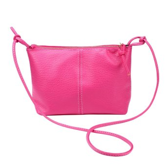 Women Faux Leather Satchel Shoulder Bag Messenger Tote Handbag Hot pink - Intl