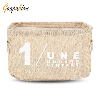 Guapabien Cotton Linen Storage Basket Table Cleaner Stuff Bag(Khaki) - intl