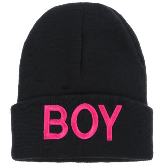 Boy Knitted Woolen Hats (Black Rose Red) (Intl)