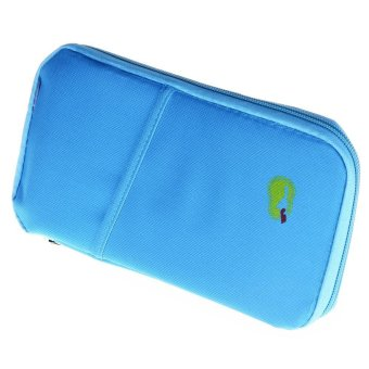 Unisex Solid Zipper Design Multi Function Card Bags (Blue) - Intl