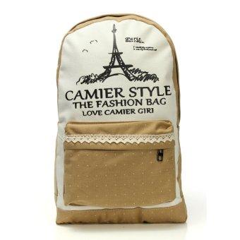 Womens Student Casual Canvas Zipper Bag Travel Backpacks Khaki - Intl