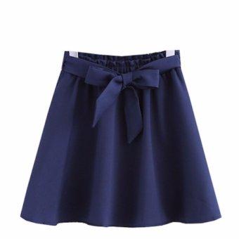Chân váy ngắn nữ dáng xoè xếp li thắt nơ LTTA141 (Xanh)