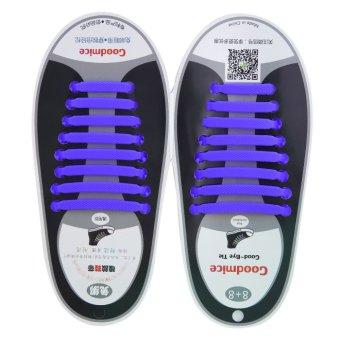 Allwin New Design Convenient No Tie Shoelaces 16pcs/set Silicone Elastic Shoe Lace blue - intl
