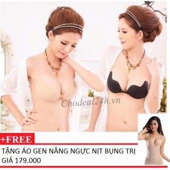 Bộ 2 Áo dán nâng ngực hình xoài tạo khe vòng 1+Tặng Áo gen nâng ngực nịt bụng
